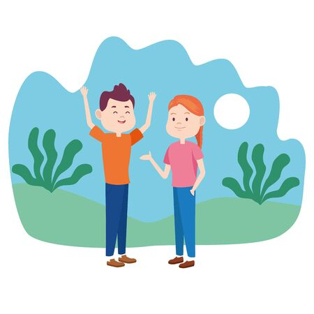 Young couple talking and having fun o at nature cartoon vector illustration graphic design. Çizim
