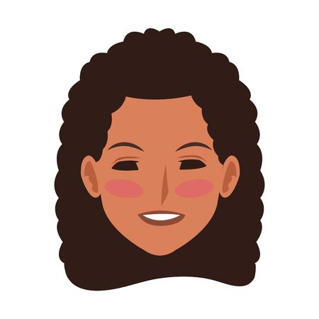 cartoon woman with hair curl icon over white background, colorful design. vector illustration