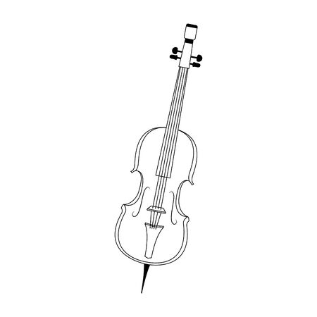 cello icon over white background, black and white design. vector illustration
