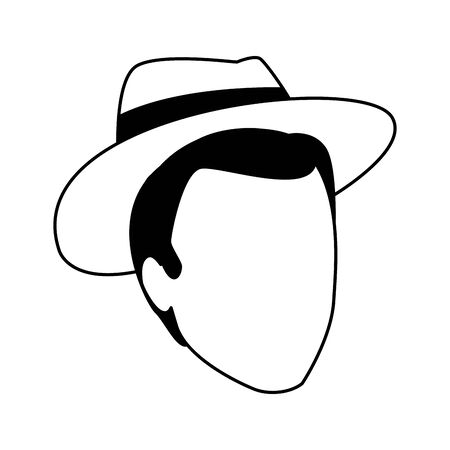 avatar man with hat icon over white background, vector illustration