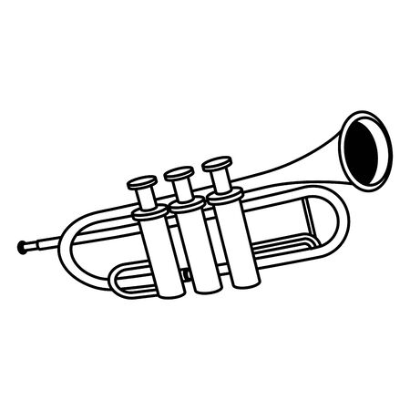 classical instruments, trumpet icon over white background, vector illustration Иллюстрация
