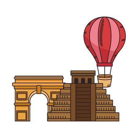iconic world monutments and hot air balloon over white background, vector illustration