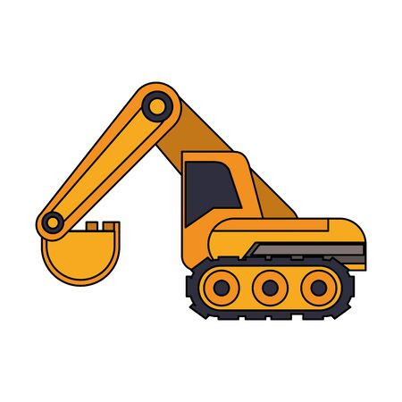 Construction backhoe vehicle machinery isolated side view  illustration graphic design