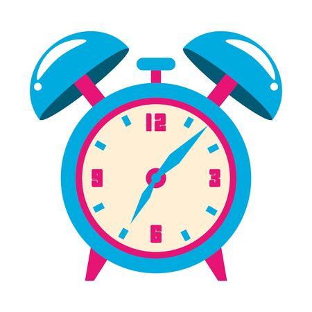 retro alarm clock icon over white background, illustration
