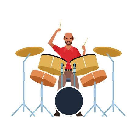 musician playing drums set over white background, colorful design. illustration
