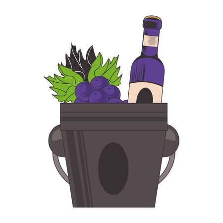 ice bucket with wine bottle and bunch of grapes over white background, vector illustration