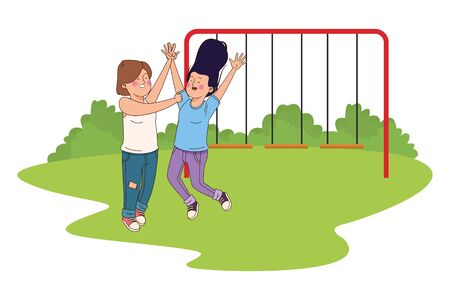 teenager friends women smiling and greeting in the park with playgrounds vector illustration graphic design.
