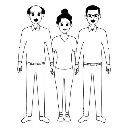 Family grandfathers with granddaughter illustration graphic design