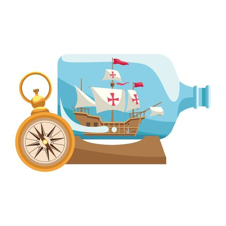 caravel ship antique in bottle illustration design