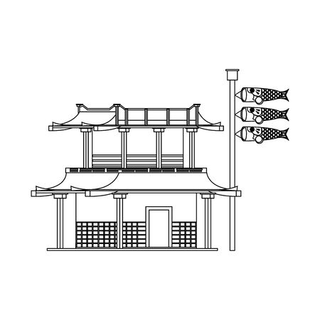 Japanese building and Japanese Koinobori fish carps flags over white backgroundillustration