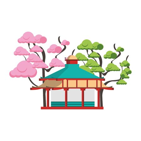 trees around a Asian temple icon over white background