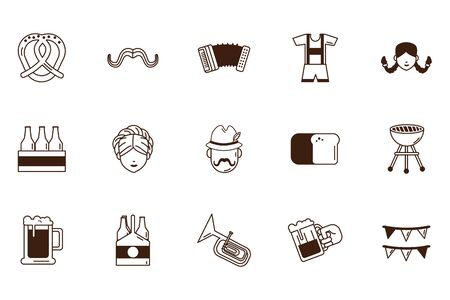bundle of Oktoberfest celebration set icons illustration design