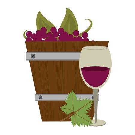 wooden bucket with bunch of grapes and wineglass over white background, vector illustration