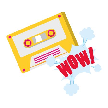 retro cassette with pop art design of wow word expression over white background, colorful design. vector illustration