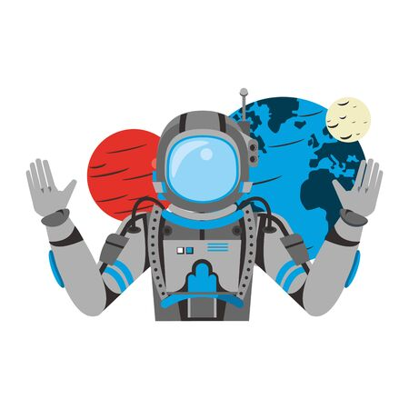 universe space galaxy astronomy science astronaut with planets cartoon vector illustration graphic design
