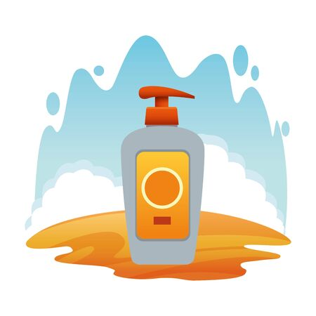 Sun bronzer bottle cosmetic product with dispenser on beach scenery background ,vector illustration graphic design. Vektorové ilustrace