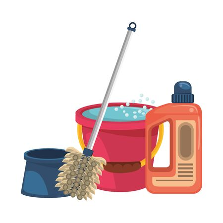 Cleaning equipment and products water in bucket with soap bottle and toilet brush vector illustration graphic design.