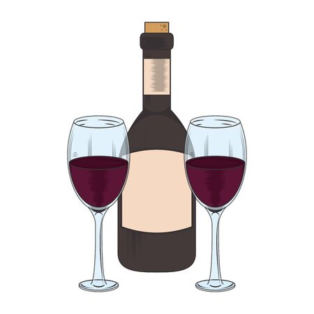 wine bottle and glasses icon over white background, vector illustration 일러스트