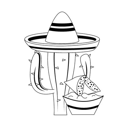 mexico culture and foods cartoons mariachi hat on cactus also guacamole plate on nachos vector illustration graphic design  イラスト・ベクター素材