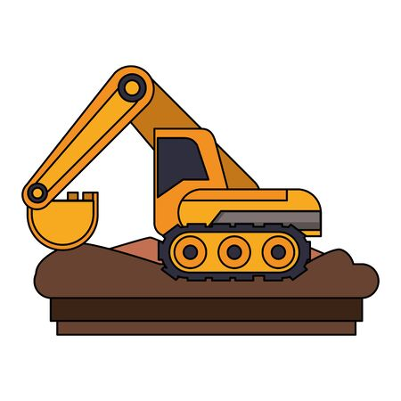Constrution backhoe vehicle machinery isolated sideview on ground vector illustration graphic design