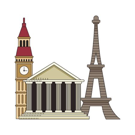 big ben with eiffel tower and rome pantheon over white background, colorful design. vector illustration Ilustracja
