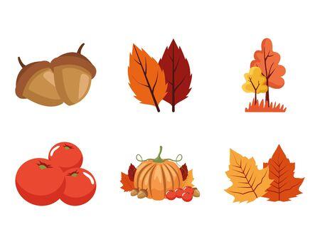 bundle of autumn season icons vector illustration design Illusztráció