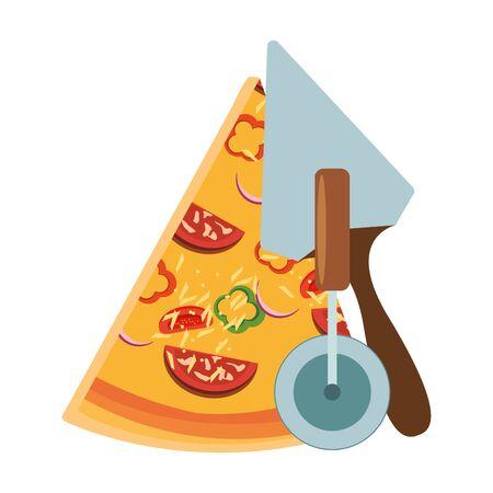 pizza utensils and italian pizza icon over white background, vector illustration