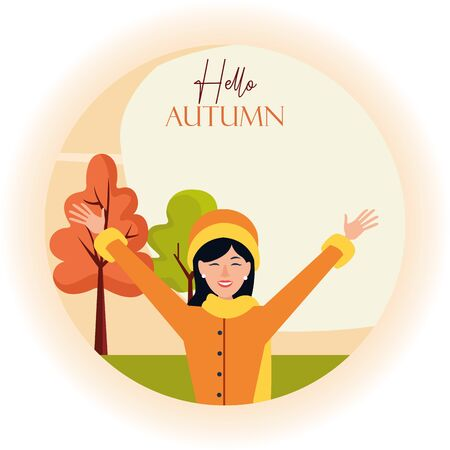 hello autumn season with happy young girl in the field vector illustration design Illusztráció