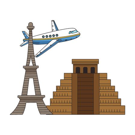iconic monuments and airplane flying over white background, colorful design. vector illustration
