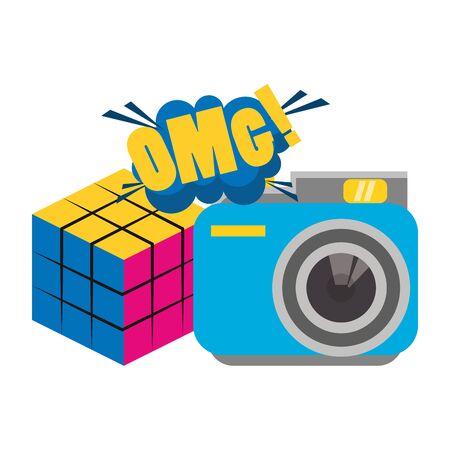 scramble cube and retro camera over white background, vector illustration