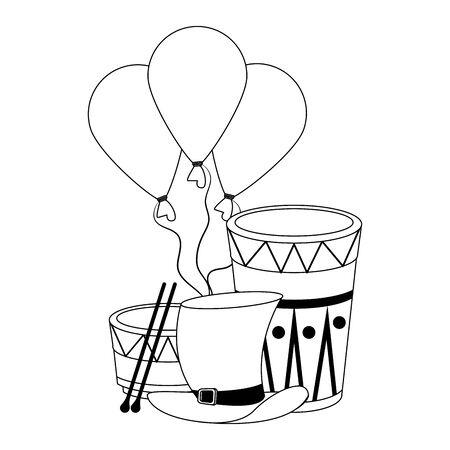 party festive celebration carnival happy entertainment, drums instruments with decoration cartoon vector illustration graphic design Çizim