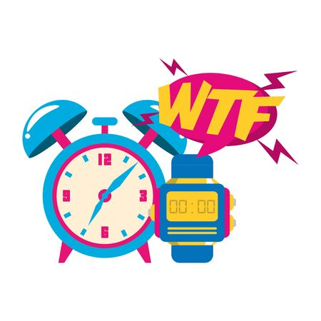 pop art design of retro clock and watch icon over white background, vector illustration