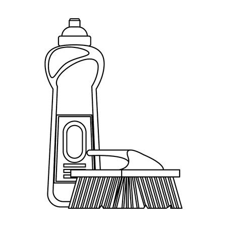 Cleaning equipment and products soap bottle and toilet brush vector illustration graphic design. Çizim