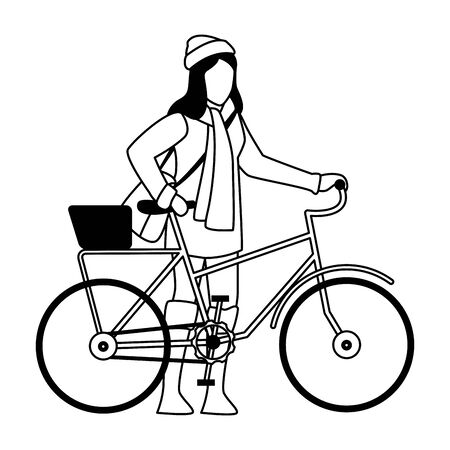 happy young girl with autumn clothes in bicycle vector illustration design