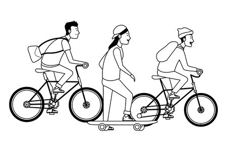 Young people riding on bicycles and skateboard with accesories ,vector illustration graphic design.