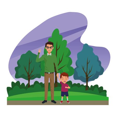 Family single father with little son cartoon in nature outdoors scenery ,vector illustration graphic design.