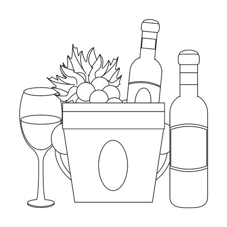 ice bucket with wine bottles and wineglass over white background, vector illustration