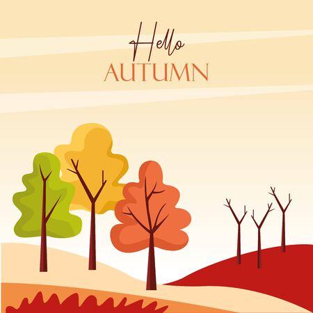 hello autumn season scene with trees forest vector illustration design Illusztráció