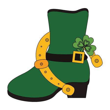 saint patricks day irish tradition green leprechaun boot with horsehoe and clover cartoon vector illustration graphic design Illusztráció