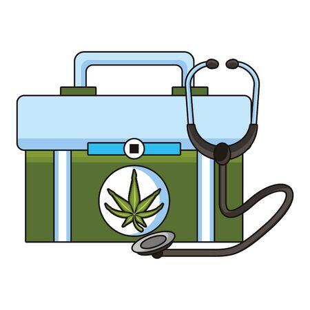 cannabis martihuana medical marijuana sativa hemp medicine plant kit cartoon vector illustration graphic design Фото со стока - 131376321
