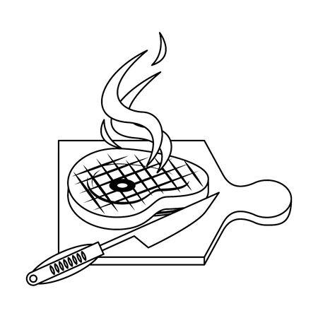 Barbecue food steak and knife in table vector illustration graphic design Illusztráció