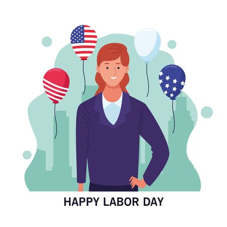 happy labor day usa celebration card, tribute to professional workers, jobs characters with usa flag balloons ,vector illustration graphic design.