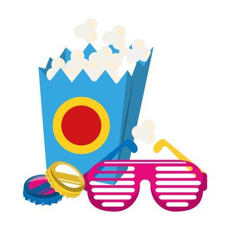 pop corn box with retro glasses over white background, vector illustration