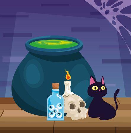 halloween dark scene with witch accessories vector illustration design