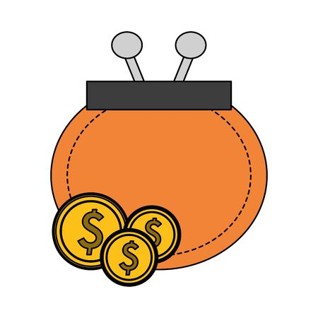saving money finance banking wallet with coins cartoon vector illustration graphic design