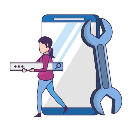 technology web digital network hardware, smartphone digital support cartoon vector illustration graphic design