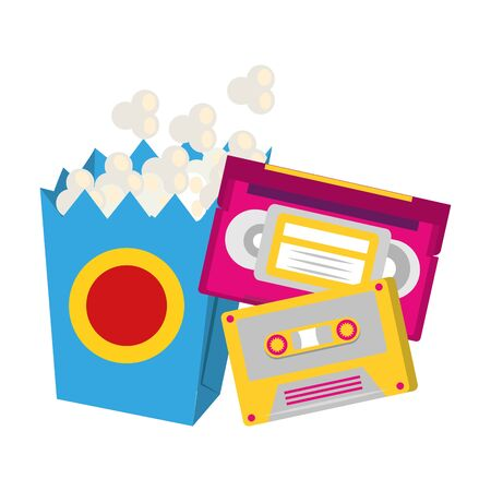 retro cassettes and pop corn box over white background, vector illustration Banco de Imagens - 131345237