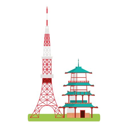 japan tower and building icon over white background, vector illustration
