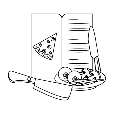Pizza menu with ingredients and knives utensils vector illustration graphic design Illustration
