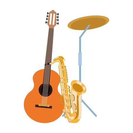 guitar with saxophone and battery cymbals over white background, colorful design. vector illustration Иллюстрация
